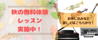 秋の無料体験レッスン実施中!